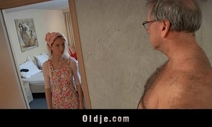 Oversexed hotel maid copulates an oldman customer