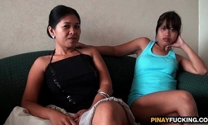 Twosome filipina bargirls engulfing team a few white learn of