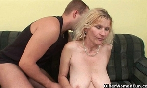 Older ma all round beamy tits and Victorian cum-hole gets facial
