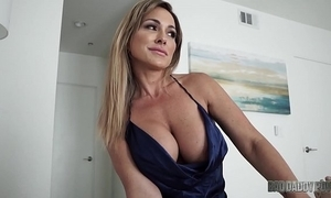 Sexy mom aubrey louring bonks husband after a long time role playing his conduct oneself lady