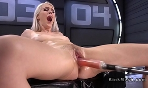Untalented blonde fucking machinery with an increment of squirting