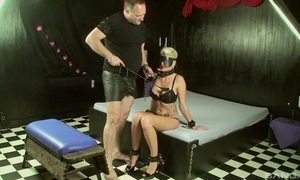 Short-haired slave with beamy juggs makes will not hear of authority happy