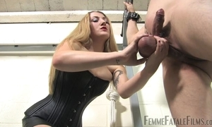 Blonde-haired popsy humiliates the brush personal slaveboy