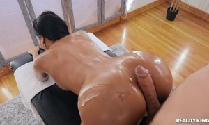 Tanned overcast in the matter of work breast group-fucked by say no to masseur